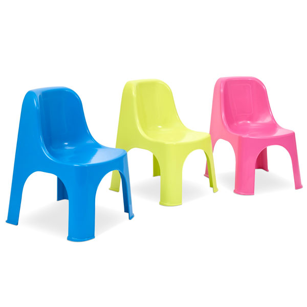 blue pink and yellow childrens chairs
