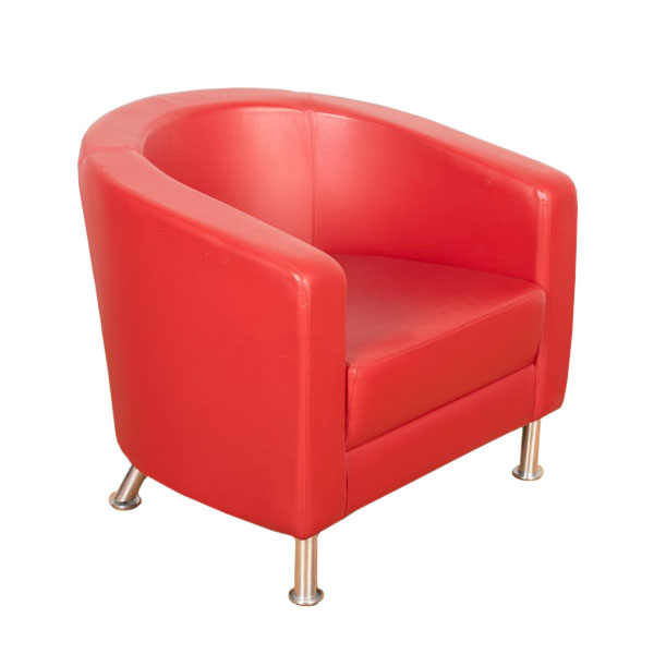 red leather tub chair