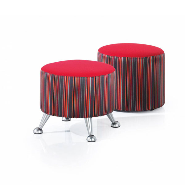 red fabric stools